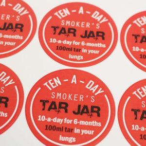 healthy schools smoking prevention tar jar sticker